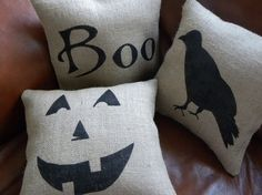 "Pinner: ""I really like the look of burlap"" (... Me, too... ! and these are easy & cute pillows , w/cut-outs or drawings, either one!)"