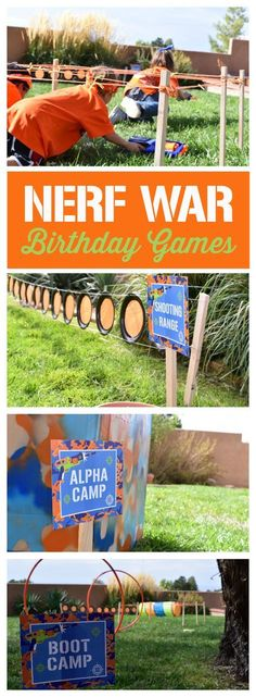 Love these Nerf War Birthday party games - Kids Party Ideas Bonfire Birthday Party, 9th Birthday Parties, Birthday Party Games, Boy Birthday, 5th Birthday Ideas For Boys, 21st Party, Turtle Birthday, Carnival Birthday, Dinner Party Games