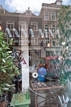 Great spot in Amsterdam: concept store ANNA NINA. Photos by Elisah… Amsterdam Shopping, I Amsterdam, Window Writing, Hip Store, Store Interiors, Lovely Shop, Interior Photo, Boutique Design, Window Stickers