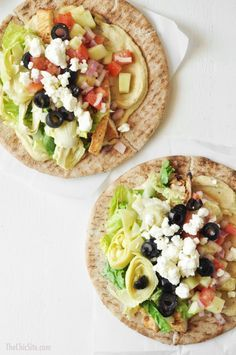 Mediterranean Tacos ~ using pita bread, hummus, cucumbers, red onion, feta cheese, olives #recipes #dinner