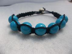 Hemp bracelet // blue glass beads // black hemp by CaliGirlCustoms, $12.99