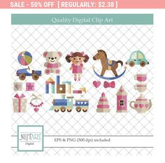 50% Off Sale Toys Clipart Baby toys Clipart kid's toys | Etsy