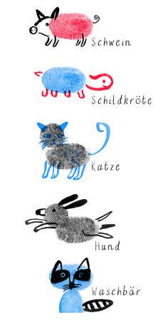 So süß und so einfach! Tiere malen mit Fingerabdruck!!