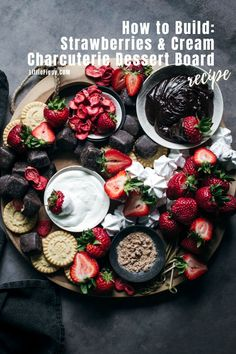 Easy to make dessert platter, learn to build this Strawberries and Cream Charcuterie Dessert Board (Platter)! It's perfect for sharing with friends and family, and is ideal any time of year from Valentine's Day to the Holidays to Summer BBQs to birthday or dinner parties! Get the chocolate dip and whipped cream recipes plus learn more at Little Figgy Food! #desserts #recipes #charcuterie #partyfoods #summerfoods #valentinesday #holidays #strawberries #chocolate #dipsandspreads #whippedcream Recipes With Whipping Cream, Cream Recipes, Dried Strawberries, Strawberries And Cream, Easy To Make Desserts, Fun Desserts, Best Dessert Recipes, Party Recipes, Amazing Recipes
