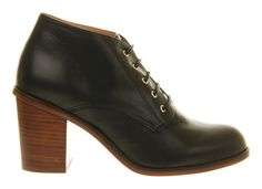 Office Unruley Lace Up Black Leather - Ankle Boots