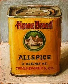 Salamon, Home Brand All Spice, oil on canvas Painting Inspiration, Art Inspo, Still Life 2, Food Painting, Hyperrealism, Vintage Labels, New Artists, Love Art, Kitchenware