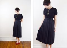 Black Pleated skirt with stripes  S by LoveCharles on Etsy, $20.00