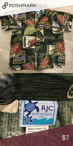 Boys button down Hawaiian shirt Authentic boys Hawaiian shirt  Shirts & Tops Button Down Shirts