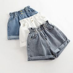 Bud High Waist Denim Shorts sold by Candy Child. Shop more products from Candy Child on Storenvy, the home of independent small businesses all over the world. Indian Fashion Dresses, Girls Fashion Clothes, Teen Fashion Outfits, Girly Outfits, Cute Casual Outfits, Outfits For Teens, Summer Outfits, Korean Girl Fashion, Kawaii Clothes