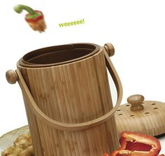 Round bamboo compost bin. Sweet!