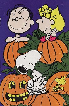 Sally, Linus, Snoopy and Woodstock in the Pumpkin Patch Waiting For The Great Pumpkin