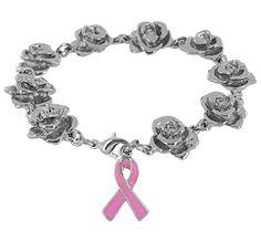 Breast Cancer Awareness - Breast Cancer Store - Pink Ribbon & Roses Bracelet