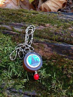 Erupting volcano quarkcork necklace by quarkcorks on Etsy