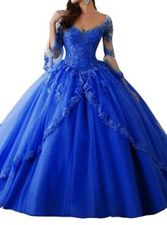 Meledy Women's V-Neck 3/4 Sleeves Sweet 16 Backless Appliques Sequins Ball Gown Long Quinceanera Dress Royal Blue US06