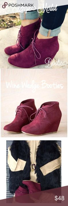"Kenzie Merlot Wedge Booties Right on trend this season Kenzie lace up faux suede wedge booties. In a gorgeous wine merlot color. Be in style this fall/winter with a fabulous pop of color to demin, leggings, skinny pants, skirts or dresses. 2.5"" heel. Threads & Trends Shoes Ankle Boots & Booties"