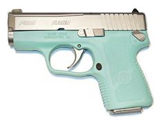 Impossible to find Tiffany Blue Kahr PM9 is IN STOCK at Guns4Gals.com!  Custom Cerakote frame in the classic Tiffany box blue that every girl finds absolutely irresistible.  Slide is stainless steel and an external safety is included with this model.