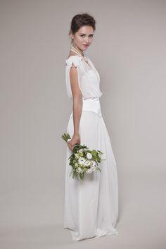 1920's Inspired Wedding Dress:  V-neck Chiffon Top (not entire dress). $900.00, via Etsy.