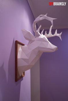 Легко и просто делаем своими руками трофейную голову оленя из бумаги. Paper craft