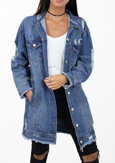 Veste en jean longue effet déchiré