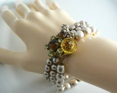 Gorgeous signed Miriam Haskell Baroque pearls and Glass Beads Bracelet Unique vintage, antique, costume and estate jewelry.