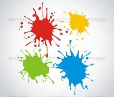 Paint Splash — Vector EPS #yellow #blue • Available here → https://graphicriver.net/item/paint-splash/64036?ref=pxcr