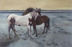 This is a painting of two horses alone in the wild.