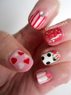 Valentine nail art. Make sure to check out http://www.thepolishobsessed.com for nail art, tutorials, giveaways and more!