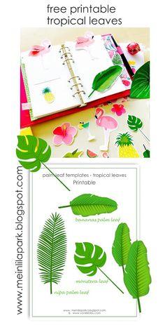 FREE printable tropical leaf planner inserts