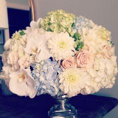 More centerpieces out the door. Events by Jackson Durham #jacksondurham #wedding #weddingflowers #floral #flowers #floraldesign #events #eventdesign #whitedahlia #hydrangea #whiteorchid #blushrose