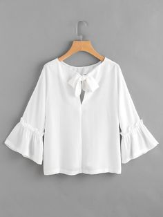 Shop Bow Tie Back Frill Bell Sleeve Top online. SheIn offers Bow Tie Back Frill Bell Sleeve Top & more to fit your fashionable needs. Blouse Styles, Blouse Designs, Diy Top, Bell Sleeves, Bell Sleeve Top, Fashion News, Fashion Outfits, Fashion Fashion, Vintage Fashion