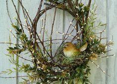 Spring Wreath Twig Wreath Rustic Bird Nest by HollyFerencze Fall Wreaths, Easter Wreaths, Christmas Wreaths, Christmas Door, Twig Wreath, Wreath Crafts, Wreaths For Front Door, Door Wreaths, Bird Nest Craft