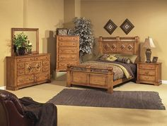 Progressive Furniture: Diamonte Bedroom Collection of rustic elegance and country feel. A hand-distressed nougat pine finish. Features queen/king bed with headboard and footboard, armoire, dresser/mirror combo and more. Queen Bedroom, Bedroom Sets, Headboard And Footboard, Headboards For Beds, Home Furniture, Furniture Design, King Size Bedding Sets, Rustic Elegance, King Beds
