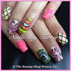 80s theme gel nails Graffiti Nails, 18th Birthday Party Themes, Caviar Nails, 80s Theme, Beauty Shop, Cosmetology, Nail Art Designs, Gel Nails, Draw