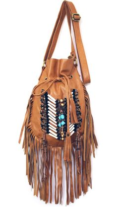 Boho-chic cross body fringe leather bag with tribal stones. Adjustable shoulder strap and Interior pocket. Fashion Bags, Trendy Fashion, Boho Fashion, Native Fashion, Bags Online Shopping, Online Bags, Fringe Bags, Fringe Vest, Fringe Purse