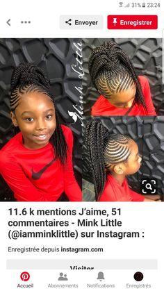 25 Catchy Cornrow Braids Hairstyles Ideas to rock in 2019 Box Braids Hairstyles, Lil Girl Hairstyles, Black Kids Hairstyles, Braided Ponytail Hairstyles, Cornrow Ponytail, Simple Hairstyles, Braid Hair, Natural Hair Braids, Braids For Short Hair