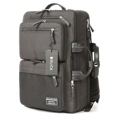 SLICK Mens 3 Way Bag Mens 15 Laptop Backpack -S. Korea College Bag for Men , Front zip pockets ,15 Laptop Compartment, Waterproof