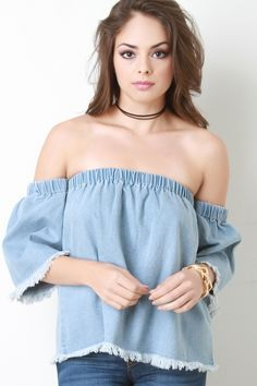 Frayed Denim Bardot Top. Frayed Denim Bardot Top