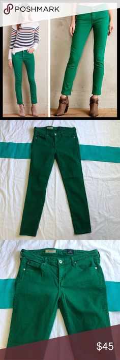 AG Jeans The Stevie Ankle In Green  Size 28R AG Adrian Goldschmied Jeans The Stevie Ankle In Green  Size 28. Such a nice pair of jeans. Great quality and perfect with so many colors. Great condition, mark on inside pocket as pictured but not noticeable at all on the outside or when you wear. Ag Adriano Goldschmied Jeans Ankle & Cropped
