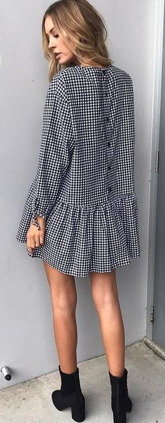 #spring #outfits Gingham Dress + Black Booties