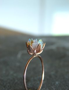Unique Opal Ring, Lotus Flower Ring in Rose Gold, Uncut Opal Engagement Ring, Raw Rough Fire Opal Jewelry for Women, October Birthstone, 8