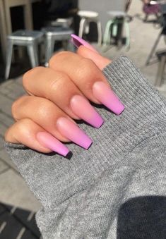 orange and pink ombre nail polish, nail design ideas, long coffin nails, grey blouse Do you get overwhelmed when choosing you manicure? We have gathered 100 best nail designs suitable for every nail shape to help you choose your favourite. Ombre Nail Polish, Pink Ombre Nails, Gel Nails, Nail Pink, Matte Nail Art, Matte Pink, Nail Nail, Ombre Nail Designs, Cool Nail Designs
