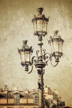 Lamp post and Cityscape - Paris Photography fine art print vintage style