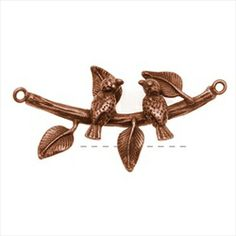 Antiqued Copper Color Pewter Birds On A Branch Pendant Link 35.5mm (1)