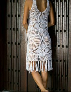 Handmade crochet dress with fringe detail beach by EllennJames