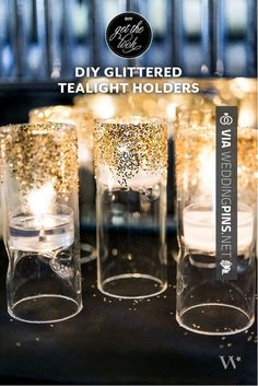 Neat! - Glittered tealight holders - 20 Amazing Crafts for Wedding From Your Dreams | CHECK OUT SOME SWEET IDEAS FOR GREAT WEDDING DECOR TRENDS 2016 AT WEDDINGPINS.NET | #weddingdecor2016 #weddingdecor #decor #2016 #trends #weddings #weddingvows #vows #tradition #nontraditional #events #forweddings #iloveweddings #romance #beauty #planners #fashion #weddingphotos #weddingpictures
