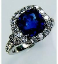 Untreated GIA Certified Platinum 4.22 tcw Blue Cushion Cut Natural Sapphire & Diamond Ring - GIA G. G