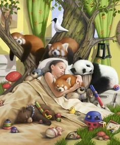 This is my dream! Look at those red tree pandas. Art And Illustration, Illustration Pictures, Jw Meme, Caleb Y Sofia, Jw Humor, Cute Bear, Image Digital, Digital Art, Paradise On Earth
