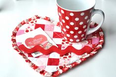 """This free quilt pattern is the """"Valentine Mug Rug"""". So cute!"""