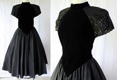 Black Velvet Dress / Eyelet / Dropped Waist / by PetticoatsPlus