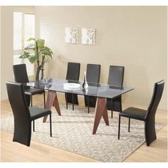 Mission Large Clear Glass Dining Table + 6 Cassia Chairs   http://www.furnitureinfashion.net/mission-large-clear-glass-dining-table-cassia-chairs-p-18528.html